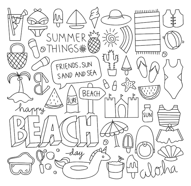 Summer doodle set vector illustration