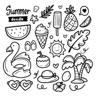 Summer doodle sticker abstract collection big set