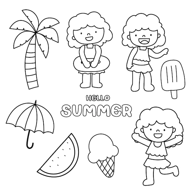 Summer doodle style