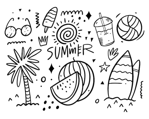 Коллекция наборов летних рисунков. пальма, очки, доступ к серфингу, напитки, мяч, мороженое и солнце.