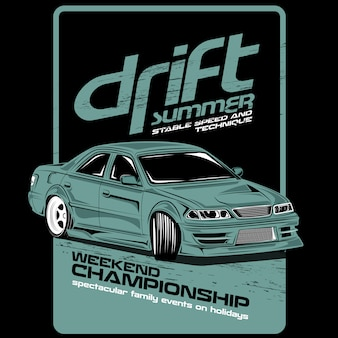 Summer drift, vector car illustrations