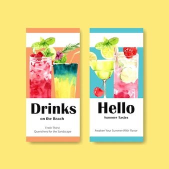 Summer drink flyer template