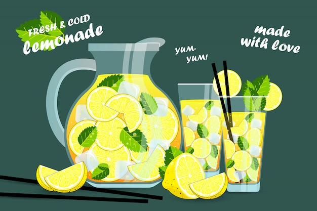 Summer drink lemonade. a large jug and a glass of lemonade. hand drawn lemonade. lemon juice bubble drink with labels and typography