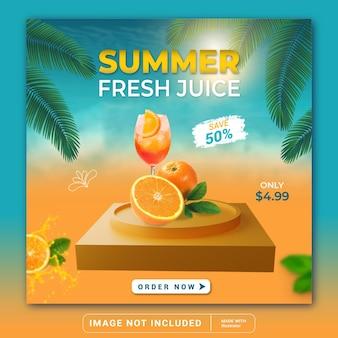 夏の飲み物メニュープロモーションソーシャルメディアinstagram投稿バナーテンプレートまたは正方形のチラシ
