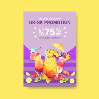 Summer drink poster template