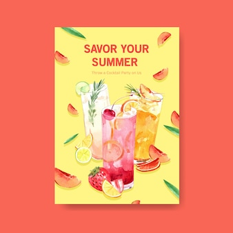 Summer drink poster template