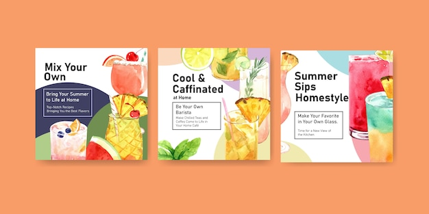 Summer drink square banners
