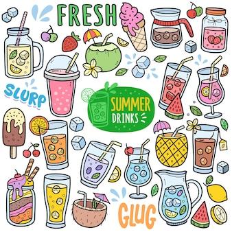 夏の飲み物や飲み物のカラフルなベクトルグラフィック要素と落書きイラスト