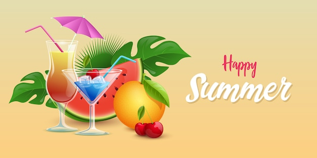 Summer drinks banner template