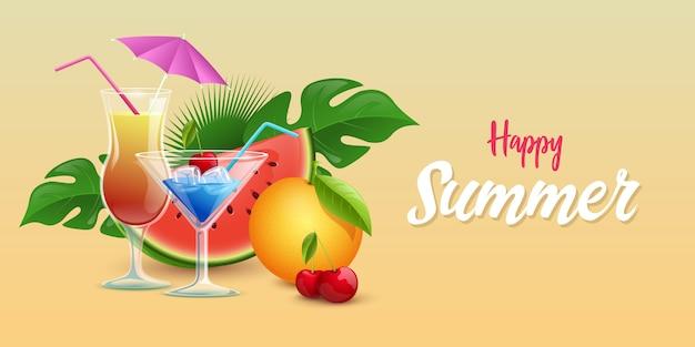 Summer drinks banner template Premium Vector