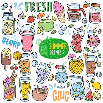 Summer drinks and beverages colorful vector graphics elements and doodle illustrations