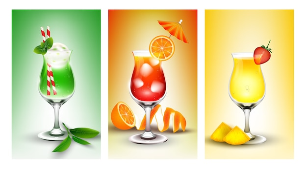 Summer drinks cocktail illustration