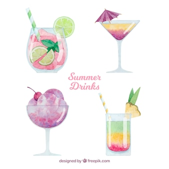 Summer drinks set in watercolor style