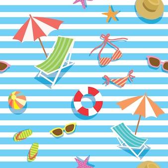 シームレスパターンのための夏の要素デザイン