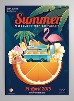 Summer element poster layout
