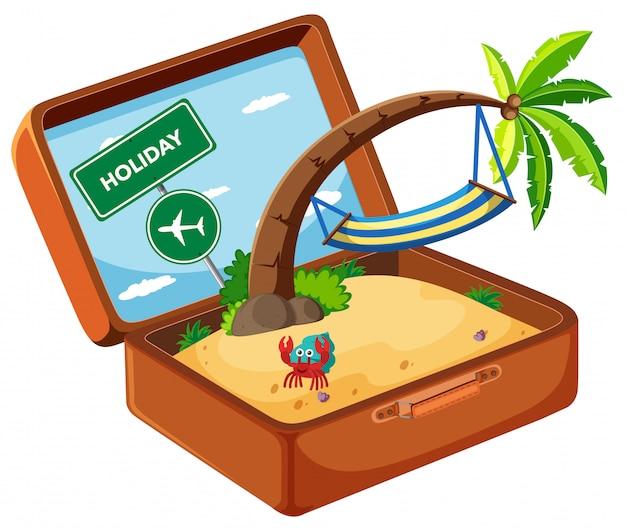 Summer element in suitcase