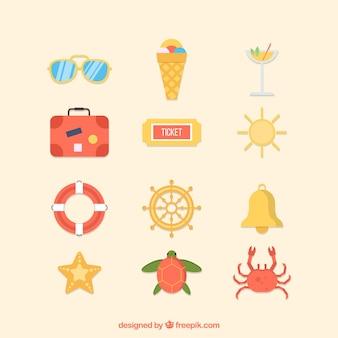 플랫 스타일의 여름 요소 컬렉션