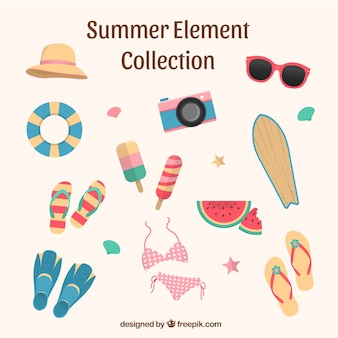 Summer elements collection in flat style