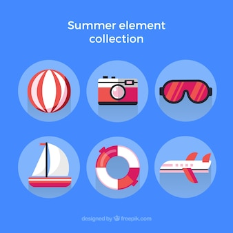 Summer elements collection with clothes in flat style