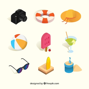 Summer elements collection with clothes in isometric style