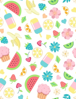 Summer elements cute seamless pattern