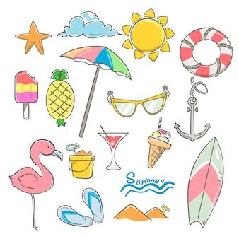 Summer elements design set with hand drawn