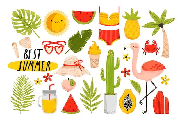 Summer elements flamingo, fruits, tropical leaves, ice-cream, swimsuit, palm tree, lemonade on white background. cute summertime stickers set.