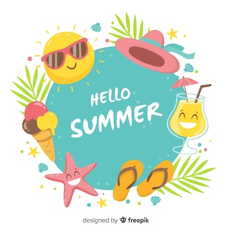 Summer elements frame background
