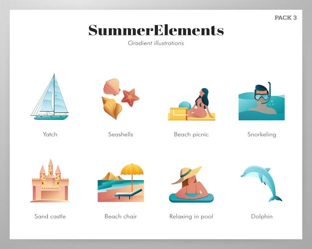 夏要素アイコンパック Premiumベクター