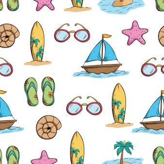 낙서 예술을 사용 하여 완벽 한 패턴의 여름 요소