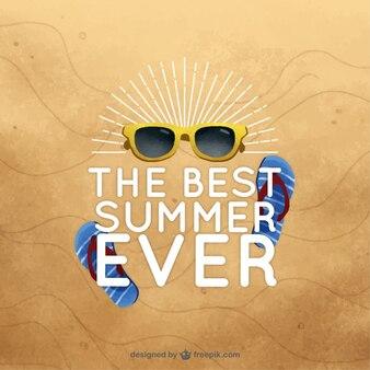 문구와 함께 태양에 여름 요소