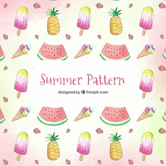 Summer elements pattern with beach elements