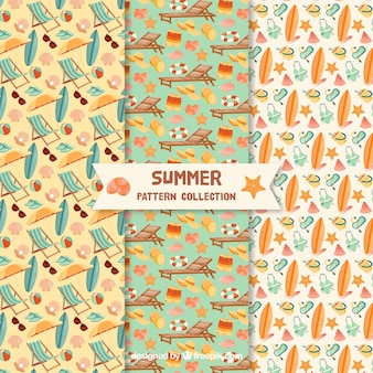 Summer elements patterns collection with beach elements
