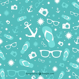 Summer elements turquoise background