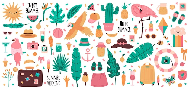 Summer elements. vacation summertime drinks, fruits, palm leaves, flamingo, parrot and jungle flowers. cute summer symbols set.