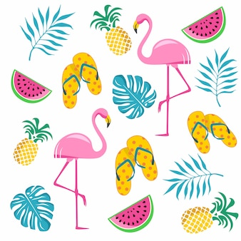 Summer elements vector illustration. flamingo, watermelon, flip flops, leaves