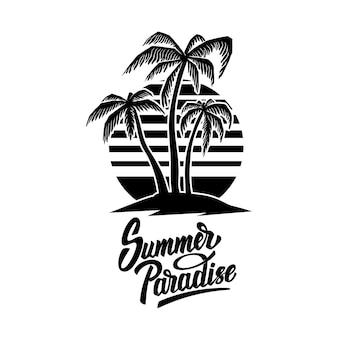 Летняя эмблема с пальмами. элемент дизайна для логотипа, этикетки, знака, плаката, футболки.