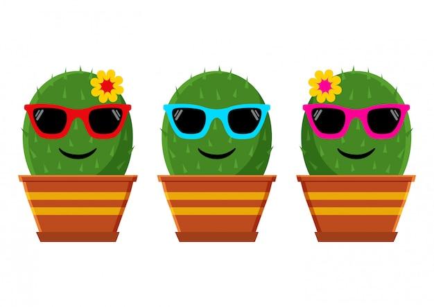 Летний смайлик кактус с очками. иллюстрация
