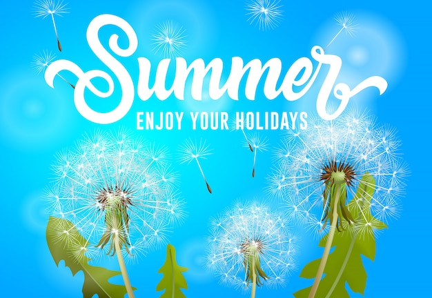Summer enjoy your holidays banner with blowing dandelions on sky blue background