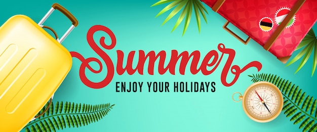 Summer, enjoy your holidays banner with tropical leaves, compass and travel cases