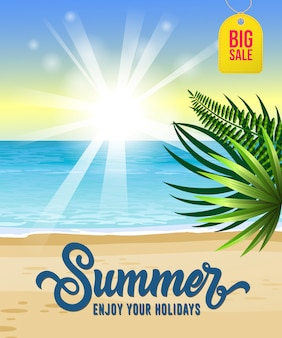 Summer, enjoy your holidays, big sale flyer with sea, tropical beach, sunrise