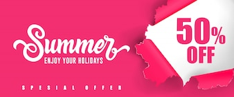 Summer Enjoy your holidays Fifty percent off lettering.