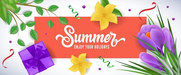 Летом наслаждайтесь праздниками надпись в красной рамке с подарочной коробкой, цветами и веточками