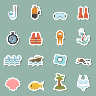 Summer equipment color icons