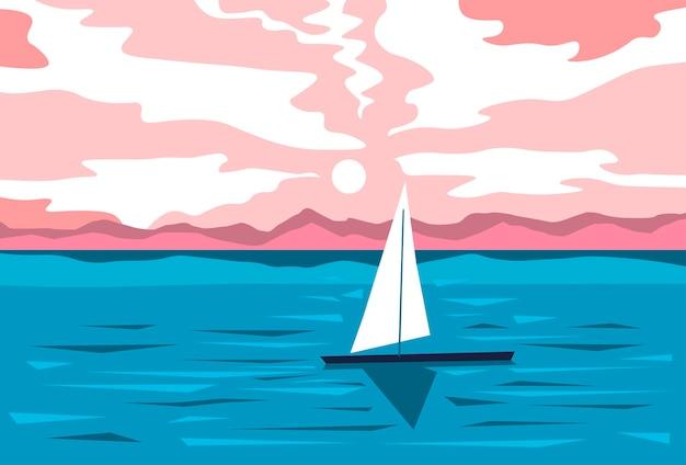 夏の夜の海辺または帆船のある池