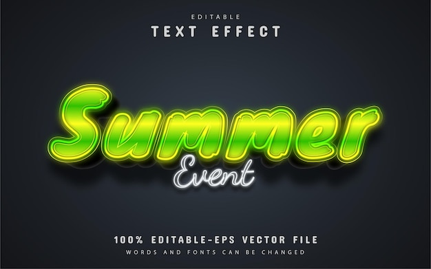 Summer event text, neon style text effect