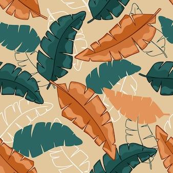 夏のエキゾチックな花の熱帯バナナの葉の背景抽象的なカラフルな葉のシームレスなパターン