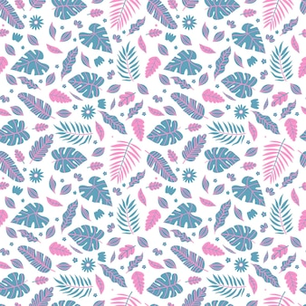 Summer exotic floral tropical palm, banana leaves in blue and pink style.