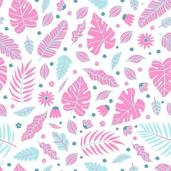 夏のエキゾチックな花の熱帯のヤシ