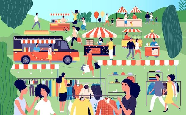 여름 박람회. 축제 음식, 거리 계절 벼룩 시장.